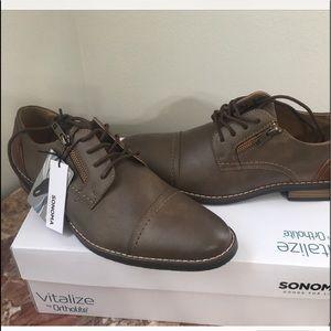 Sonoma men's shoes oxford gray brown 9.5